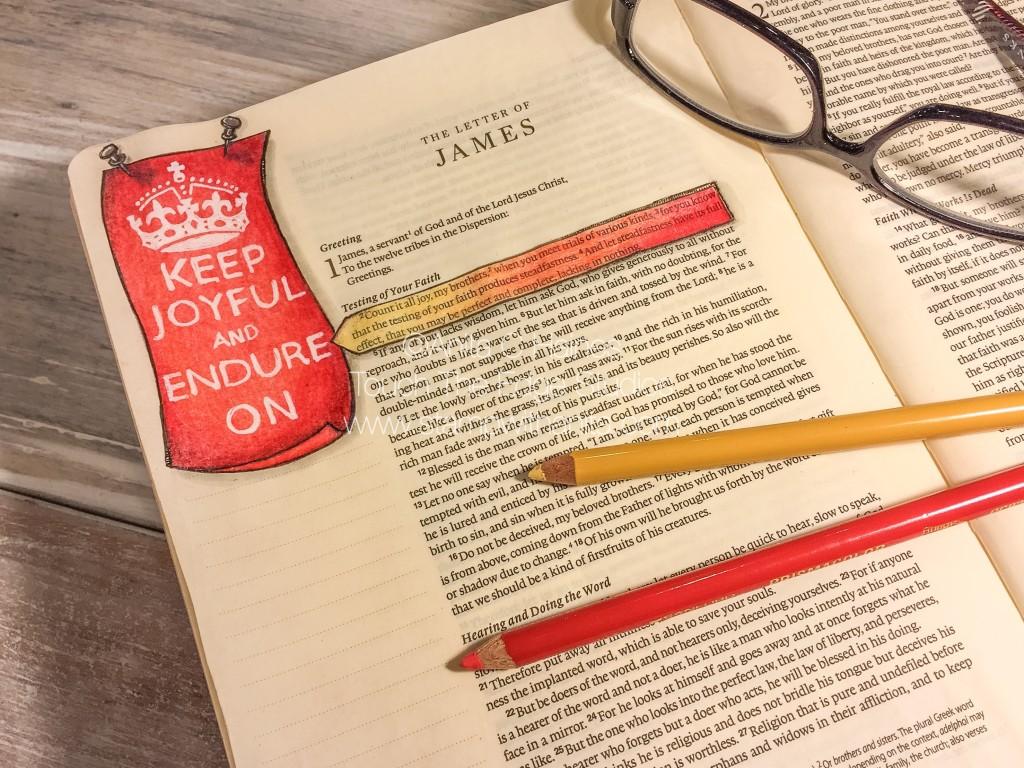 Keep Joyful and Endure On Bible Journaling. www.stampwithanita.com