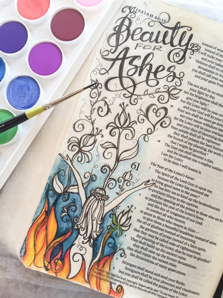 Beatuty for Ashes Bible Journaling Watercolor by Anita C Haines